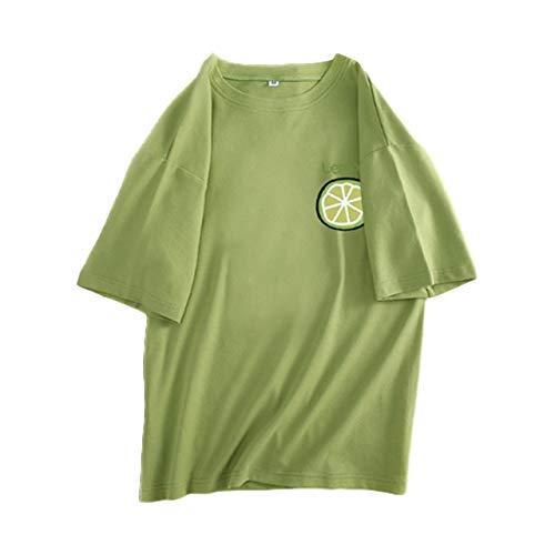 [ジーティアモ] カワイイ レモン ワンポイント 半袖 T シャツ レディース トップス カットソー プルオーバー ろんてぃー ロンT 白 しろ ホワイト 緑 みどり グリーン かわいい 可愛い おしゃれ オシャレ お洒落 春 はる しゃつ シャツ フルー