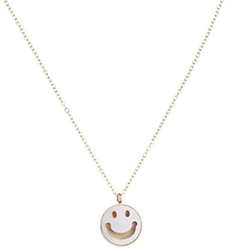 NC96 Collar de Acero Inoxidable, Colgante de Concha de Sonrisa Simple, Cadena de clavícula, Accesorios de eslabones de suéter, Regalo para Mujer