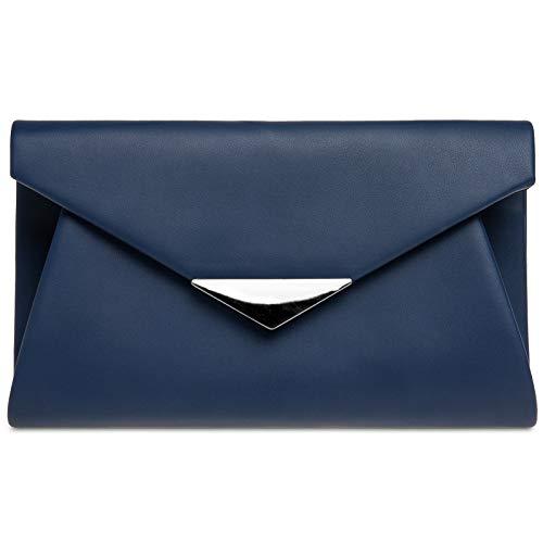 Caspar TA363 XL Bolso de Mano de Fiesta para Mujer Clutch con Aplicación Metálica, Color:azul oscuro, Talla:Talla Única