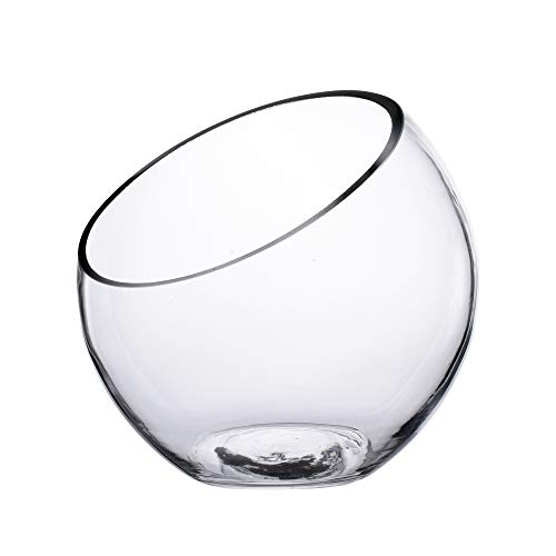 KnikGlass Abgeschrägte Glasschale, Pflanzgefäß oder Bonbonglas, transparente Vase Kugelvase runde Vase 17,5 x 17,5 cm
