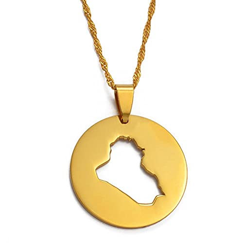 Collares redondos con colgante de mapa de Irak, joyería de Color dorado, regalos patrióticos del pueblo de Irak, cadena delgada de 45 cm