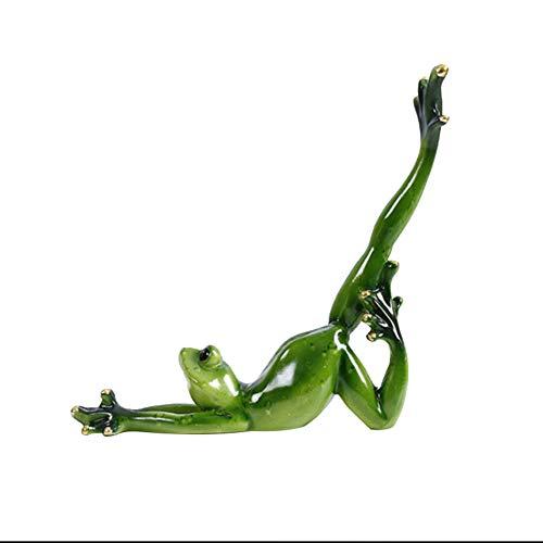 Henreal - Estatuas de resina de la decoración 3D en forma de rana verde de yoga para el salón de dormitorio