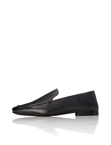 find. Slipper Damen aus Leder mit flachem Blockabsatz, Schwarz (Black), 38 EU