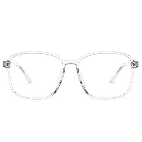 Oversized Blue Light Blocking Glasses for Women Men Square Eyeglasses Frame TR90 Computer Game Glasses