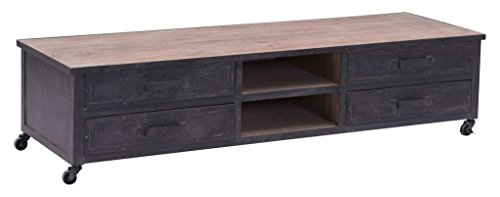 Hot Sale Rustic Wood and Metal TV Media Stand