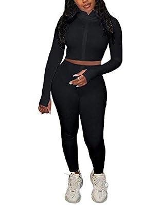 Women's Sexy 2 Pieces Outfit Rib-Knit Zipper Sweatshirt Crop Top & Long Pants Solid Color Active Tracksuit Set
