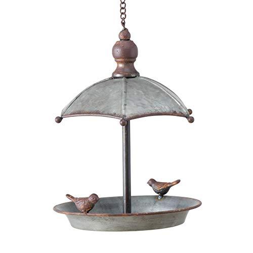 CasaJame, abbeveratoio per uccelli con ombrello, tetto in zinco, da appendere, altezza 24 cm, diametro 19 cm, con piccoli uccelli, decorazione da giardino vintage