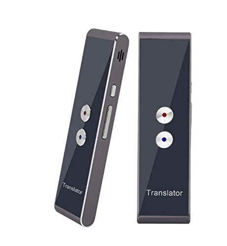 Tragbarer, intelligenter Übersetzer mit 40 Sprachen, Sprachübersetzer in Echtzeit-Sprache, Bluetooth Smart Pocket Interpreter (T8-Silber-Grau)