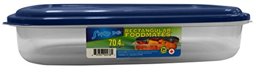 StoreMaxx Foodmates 238 Rectangle Food Storage Container with Clear Base/Blue Lid, Large 70.4 oz., Slate Blue/Opaque