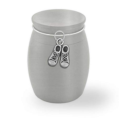 Small Mini Size Urn Baby Infant Loss Memorial Ashes Holder Container Jar Vial Brushed Stainless Steel Rememberance Sympathy Keepsake Miscarriage Stillborn Gift Cremation Funeral Baby Shoes Charm