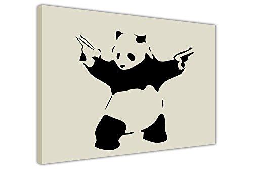 Canvas It Up Iconic Panda con Pistole Banksy Stampe su Tela Wall Art Room Decorazione Crema Immagini