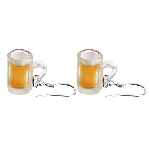 Holibanna 1 par de brincos de caneca de cerveja miniatura copo de cerveja pendentes brincos divertidos para amantes de cerveja presente para mulheres meninas joias marrom