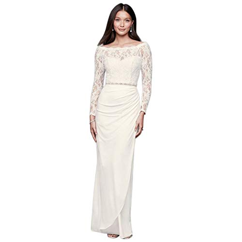 Off-The-Shoulder Long Sleeve Lace Draped Gown Style 184213DB, Ivory, 12