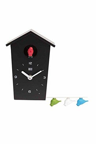 KOOKOO Birdhouse Mini Schwarz, kleine Moderne Kuckucksuhr, Design Wanduhr mit 12 Vogelstimmen oder Kuckuck, Aufnahmen aus der Natur von Jean-Claude Roché