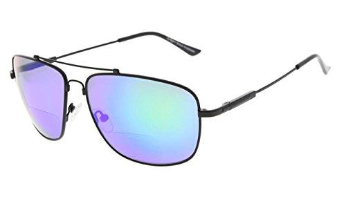 Eyekepper Erinnerung Bifokal Sonnen brille Biegsamen Titan Lesen Sonnenbrillen (Schwarz Rahmen Grün Spiegel,+1.00)