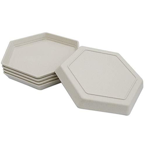 Confezione da 5 piatti da dessert di alta qualità, 17 x 15 cm, riutilizzabili, piccoli piattini da dessert, set da tavola per frutta, caramelle, contorni (esagono) (15 cm, 5 beige)