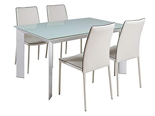 HABITMOBEL Pack Elegante Mesa Comedor con 4 Sillas, 140/200x90x76 cm