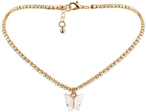 AMOZ Sweet and Lovely Butterfly Necklace for Female Gold Silver Shiny Srystal Chain Woman Jewelry Amp, Watches Bracelets for Mother's Day Easter Fashion,B,Free Size