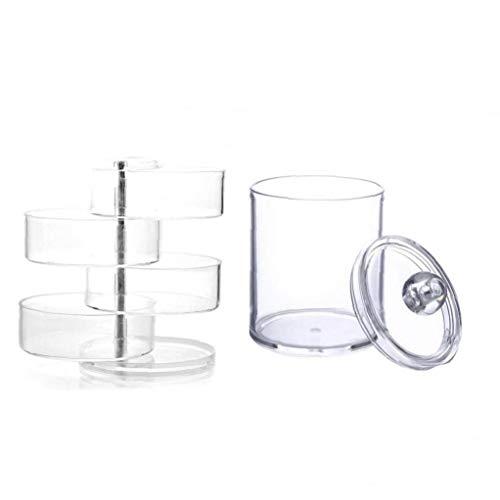 Großräumige Lagerung Kosmetische Aufbewahrungsbehälter Kosmetik Und Schmuck Transparente Kosmetisches Rotating Display-Box Spender-behälter Badezimmer Lagerung Transparent Tupfer Box