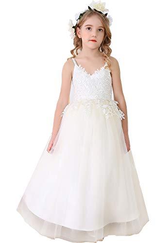 Bow Dream Vintage Ivory Lace Flower Girl Dress Blush Junior Bridesmaid Dress for Wedding Ivory 8