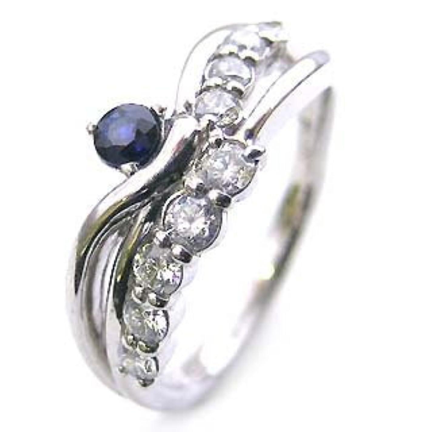 免除食い違い月曜( 婚約指輪 ) ダイヤモンド プラチナエンゲージリング( 9月誕生石 ) サファイア #7