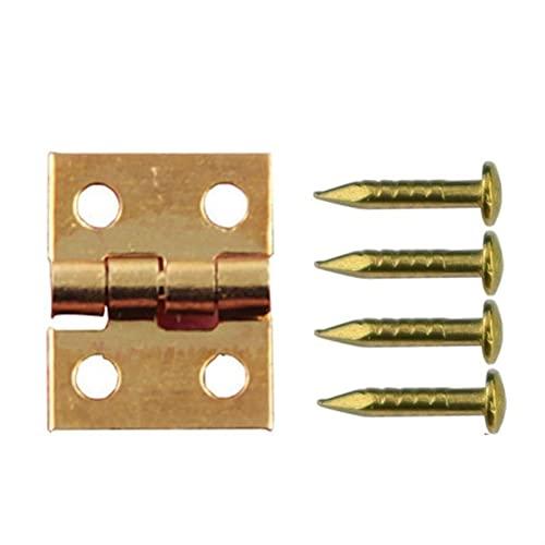 50 unids cobre super mini bisagra plegable joyería de madera accesorios de bisagra muñeco de muñecas puerta puerta bisagra hardware de hardware clavo (Color : Gold)