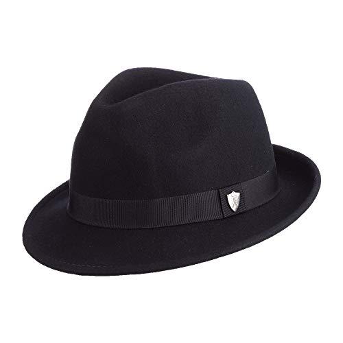 Dorfman Pacific Men's Wool Felt Snap Brim Hat, Black, Large