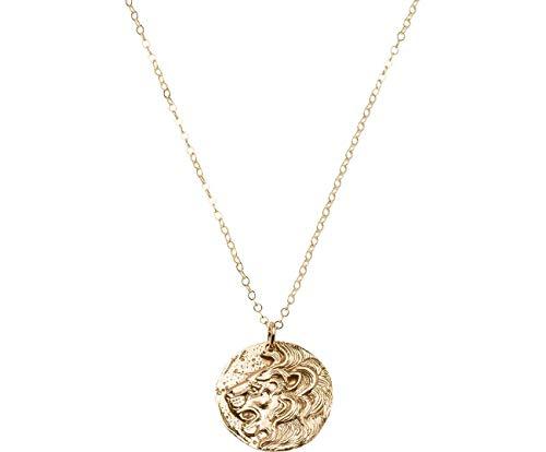 Gemshine Halskette Münze Anhänger LÖWE Lion 925 Silber, vergoldet oder rose mit runder Antique Ethnic Vintage Coin - Qualitätsvoller Schmuck Made in Spain, Metall Farbe:Silber vergoldet