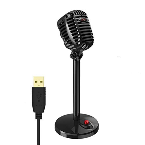 YWSZJ Karaoke Microphone Wired Studio HD Noise Cancelling Condenser Tabletop USB 3.5mm Mircophone for Computer Professional Retro Mic (Color : Style 2)