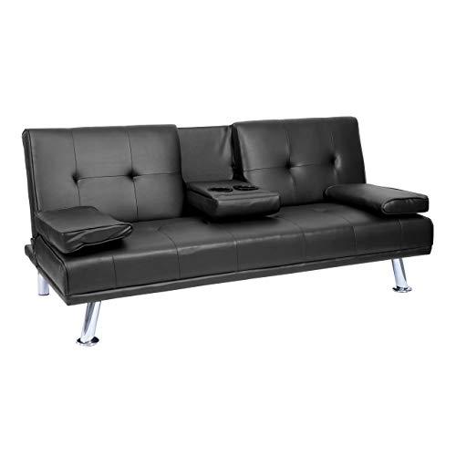 Mendler 3er-Sofa HWC-F60, Couch Schlafsofa Gästebett, Tassenhalter verstellbar 97x166cm - Kunstleder, schwarz