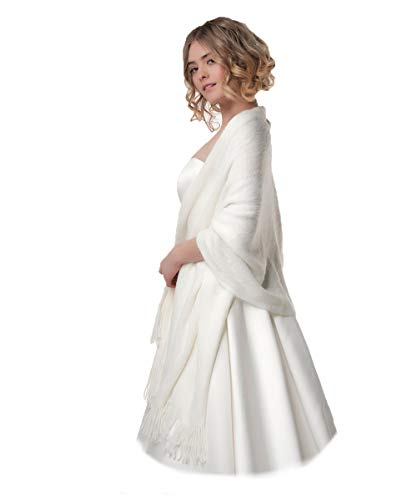 Poirier Strick Stola gestrickter Schal Ivory Blush Brautjacke Jacke Poncho Tuch Braut Hochzeit Brautkleid Strickjacke (Blush)