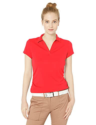 PGA TOUR Damen Airflux Short Sleeve Golf Polo Shirt Golfhemd, Hot Coral (rot), X-Klein