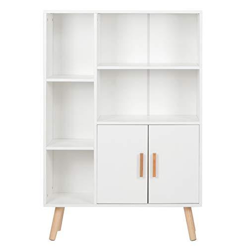 Scaffale per libri bianco Mobili per ufficio Armadio di stoccaggio Pannello truciolare 9.3x31.5x42.5in per Home Office