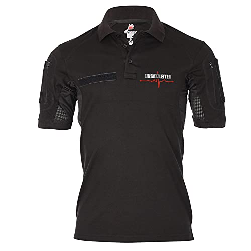 Copytec Tactical Poloshirt Einsatzleiter EKG Linie Einsatz Notarzt Rettungsdienst #37656, Größe:M, Farbe:Schwarz