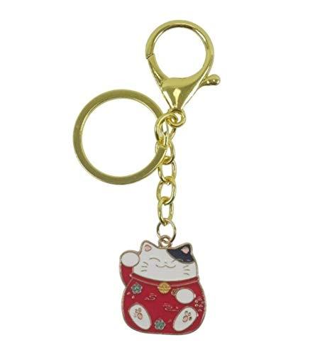 Coco Papaya - Llavero dorado Maneki Neko - Gato de la suerte