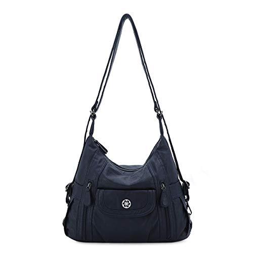 angel kiss Satchel Handbag for Women, Ultra Soft Washed Vegan Leather Crossbody Bag, Shoulder Bag, Tote Purse (ZCO118-22BLUE)