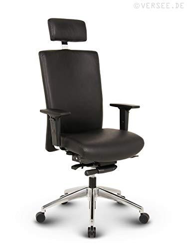 VERSEE Profi Bürostuhl Chefsessel - Terox - Echt-Leder - schwarz - mit Kopfstütze, Drehstuhl, Bürodrehstuhl, Schreibtischstuhl, Chefstuhl, Ergonomisch, hochwertige Verarbeitung, 150 kg belastbar
