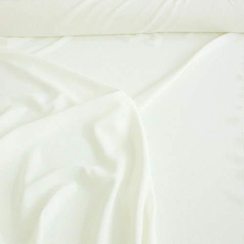 TOLKO Modestoff | Dekostoff universal Stoff zum Nähen Dekorieren | Blickdicht, knitterarm | 150cm breit Meterware Bekleidungsstoffe Dekostoffe Vorhangstoffe Nähstoffe Basteln Patchwork (Creme Weiß)
