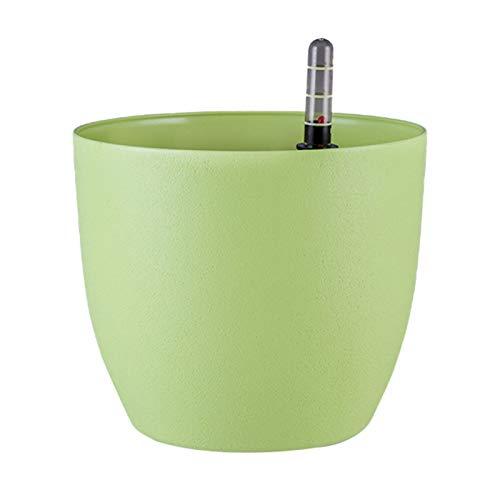 AchidistviQ Macetero de riego automático, para interior y casa, con indicador de nivel de agua, para flores, hierbas, cactus, moderna maceta decorativa para casa, oficina, color verde