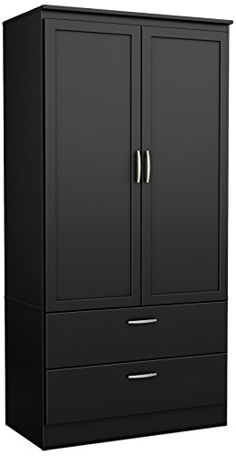 South Shore 2-Door Wardrobe Armoire with Adjustable Shelves and Storage Drawers, Pure Black