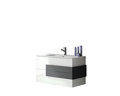 Soltar Cronos Design Badmöbelset Deluxe Weiß-Hochglanz mit abgesetzten Griffen in Anthrazit-matt 80cm (WT+WTU)