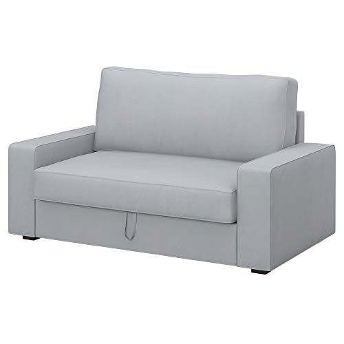 Soferia Funda de Repuesto para IKEA VILASUND sofá Cama 2 plazas, Tela Eco Leather Light Grey, Gris