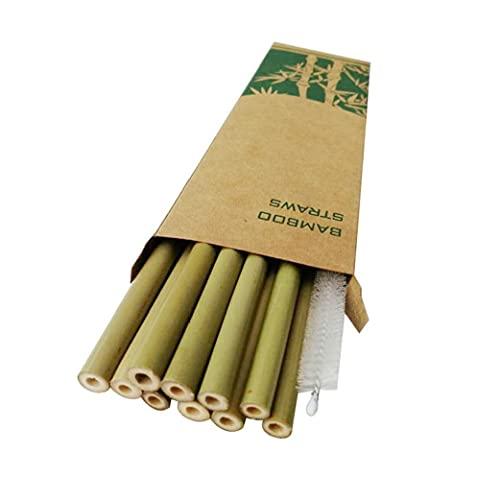 fedsjuihyg Pajas Pajas De Bambú Orgánico De Bambú Natural Pajitas Beber con El Caso De Almacenamiento para Partido De La Barra Inicio Verde 20pcs Gadget Útil