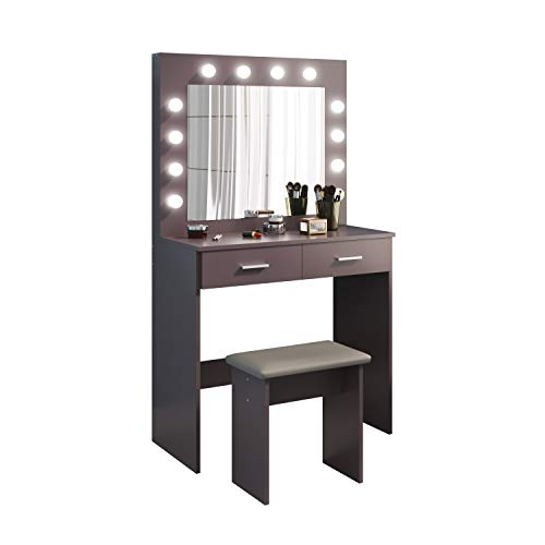 Jooli H Grey Dressing Table Set with Hollywood LED Lights Mirror, Vanity Makeup Table 2 Large Drawers and Stool