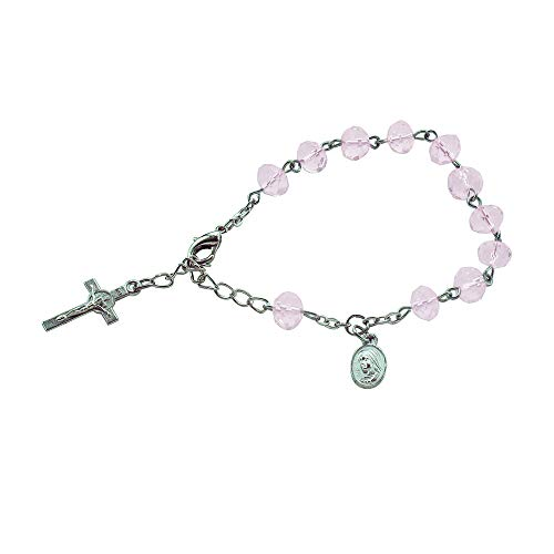12 pulseras rosarias de cristal rosa para bautizo, bodas, comuniones, Recuerditos de Bautismo