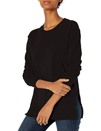 Amazon Brand - Daily Ritual Women's Terry Cotton and Modal Pullover with Side Cutouts, Black,Small