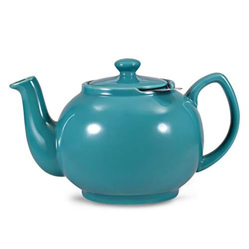 Urban Lifestyle Teekanne/Teapot Klassisch Englische Form aus Keramik mit Nicht-tropfendem Ausguss Cambridge 1,6L mit Teefilter aus Edelstahl (Türkis)