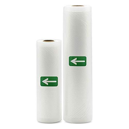 QIBIN 2 rollos de sellado al vacío de 28 x 497 cm y 20 x 196 pulgadas, bolsa de grado comercial para ahorro de alimentos y sello de comida