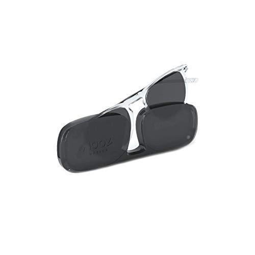 NOOZ Gafas de sol para leer para Hombre y Mujer Color Crystal +1,50 con Funda ultraplana - Protección UV de categoría 3 - colección DINO