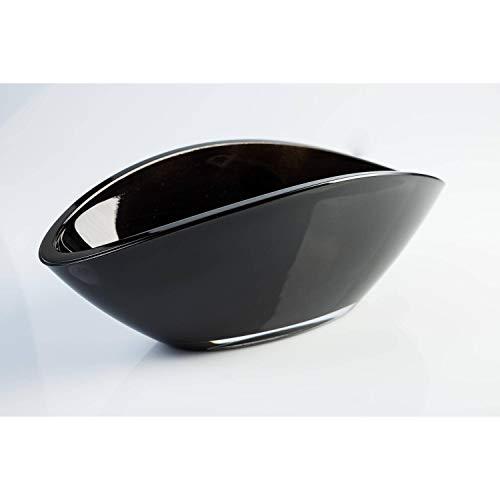 INNA-Glas Ovale Glasschale - Dekoschale KIRA, schwarz, 26x12cm - Obstschale